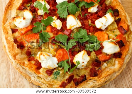 Sweat potato, chorizo and goat's cheese tart