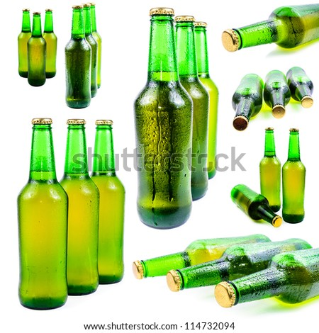 Sweaty bottle of beer. Isolated on white background - stock photo
