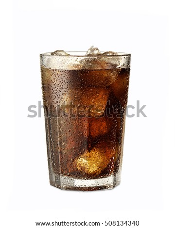 Sweaty soda glass with ice cubes on white background