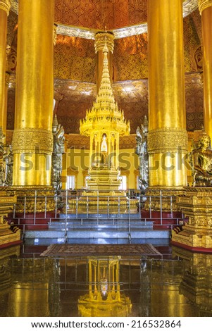 Swedaw Myat Temple Yangon, Myanmar (Burma) They are public domain or treasure of Buddhism, no restrict in copy or use - stock photo