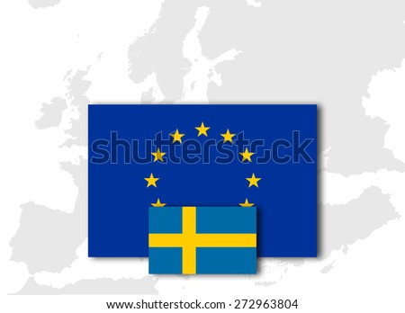 Sweden and European Union Flag with Europe map background - stock photo
