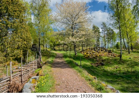Sweden at springtime - the idyllic countryside of Smaland in early May - stock photo
