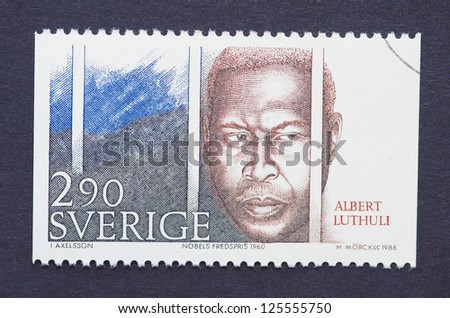 SWEDEN -Â?Â? CIRCA 1986: A postage stamp printed in Sweden showing an image of Nobel Peace Prize winner Albert Luthuli, circa 1986.