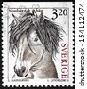SWEDEN - CIRCA 1994: a stamp printed by Sweden shows image of North Swedish Horse - a small heavy horse originating in Sweden, circa 1994. - stock photo