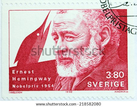 SWEDEN - CIRCA 1990: A stamp printed by SWEDEN shows image portrait of famous American author and journalist Ernest Hemingway, Nobel Laureate in Literature, circa 1990 - stock photo