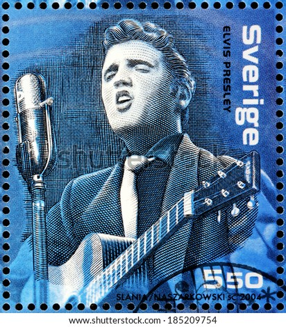 SWEDEN - CIRCA 2004: A stamp printed by SWEDEN shows image portrait of famous American singer Elvis Presley, circa 2004. - stock photo