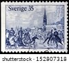 SWEDEN - CIRCA 1971: a stamp printed by SWEDEN shows Skaters on Malar bay in Stockholm 1867. Engraving after woodcut by Knut Alfred Ekwall, circa 1971. - stock photo