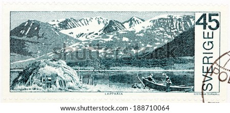 SWEDEN - CIRCA 1970: A stamp printed by SWEDEN shows view of the Akka Mountains in the National Park of Store Sjofallet (Great Falls). The stamp from the Around the Arctic Circle set, circa 1970
