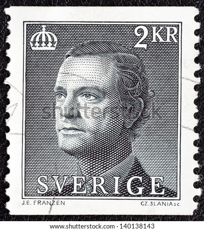 SWEDEN - CIRCA 1985: A stamp printed in Sweden shows King Carl XVI Gustaf, circa 1985.