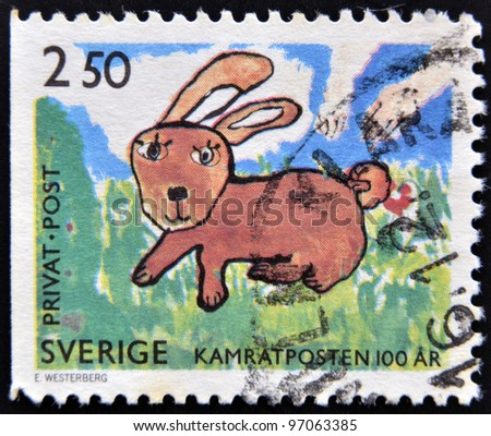 SWEDEN - CIRCA 1990: A Stamp printed in Sweden shows  picture of a bunny, circa 1990