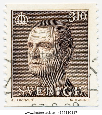 SWEDEN - CIRCA 1987: A stamp printed in Sweden, shows portrait of a King Carl XVI Gustaf, circa 1987