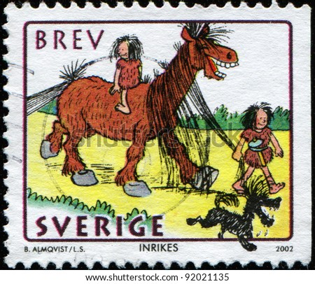 SWEDEN - CIRCA 2002: A stamp printed in Sweden shows Sweden man leads a horse with a woman sitting on her back, circa 2002