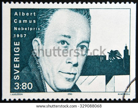 SWEDEN - CIRCA 1990: A stamp printed in the Sweden shows Albert Camus, Nobel Prize for Literature in 1957, 1957, circa 1990 - stock photo