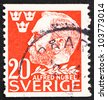 SWEDEN - CIRCA 1946: a stamp printed in the Sweden shows Alfred Nobel, Inventor and Philanthropist, 50th Anniversary of the Death of Nobel, circa 1946 - stock photo