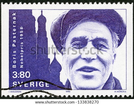 SWEDEN - CIRCA 1990: A stamp printed in the Sweden shows Boris Pasternak, Nobel Laureate in Literature, 1958, circa 1990