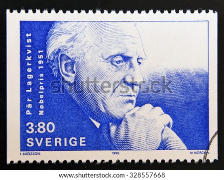 SWEDEN - CIRCA 1990: A stamp printed in the Sweden shows Par Lagerkvist, Nobel Prize for Literature in 1951, circa 1990 - stock photo