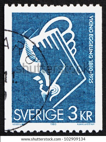 SWEDEN - CIRCA 1979: a stamp printed in the Sweden shows Scene from Diagonal Symphony, 1924, by Viking Eggeling, Artist and Filmmaker, circa 1979 - stock photo