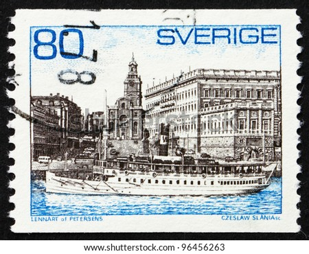 SWEDEN - CIRCA 1971: a stamp printed in the Sweden shows Steamer Storskar and Royal Palace, Stockholm, circa 1971