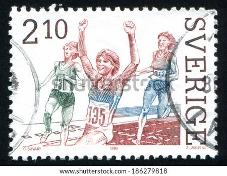 SWEDEN - CIRCA 1986: stamp printed by Sweden, shows Ann-Louise Skoglund, 400-meter hurdle, circa 1986 - stock photo