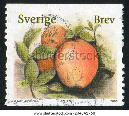 SWEDEN - CIRCA 2008: stamp printed by Sweden, shows Apple, circa 2008 - stock photo