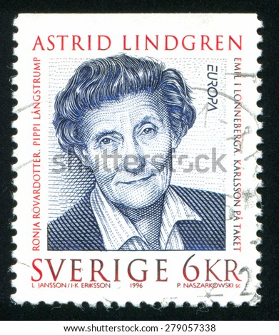 SWEDEN - CIRCA 1996: stamp printed by Sweden, shows Astrid Lindgren, circa 1996 - stock photo