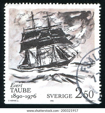 SWEDEN - CIRCA 1990: stamp printed by Sweden, shows At sea by Evert Taube, circa 1990
