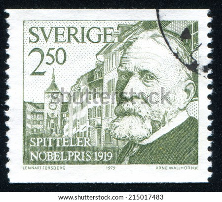 SWEDEN - CIRCA 1979: stamp printed by Sweden, shows Carl Spitteler, circa 1979