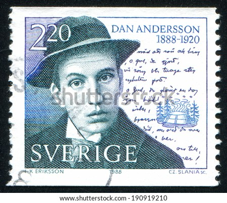 SWEDEN - CIRCA 1988: stamp printed by Sweden, shows Dan Andersson, Poet, and Manuscript, circa 1988
