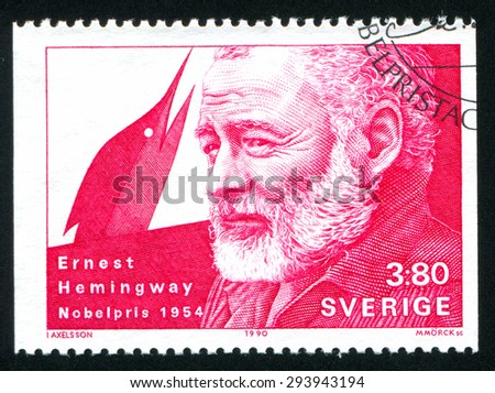 SWEDEN - CIRCA 1990: stamp printed by Sweden, shows Ernest Hemingway, circa 1990 - stock photo