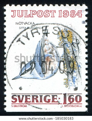 SWEDEN - CIRCA 1984: stamp printed by Sweden, shows Eurasian Nuthatch, circa 1984