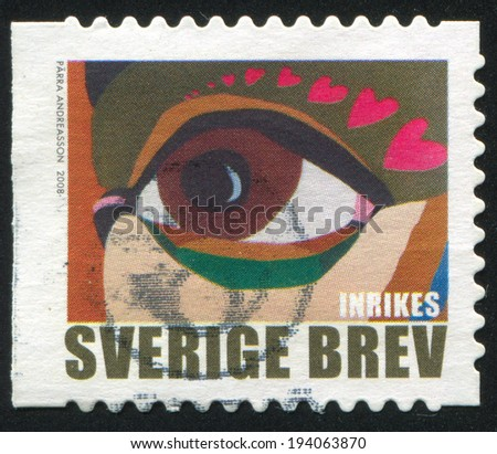 SWEDEN - CIRCA 2008: stamp printed by Sweden, shows Eye with hearts, circa 2008