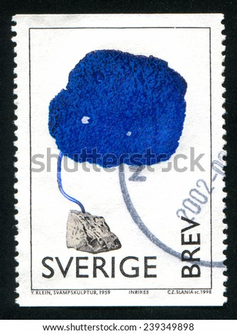 SWEDEN - CIRCA 1998: stamp printed by Sweden, shows Fungus Sculpture, by Yves Klein, circa 1998 - stock photo