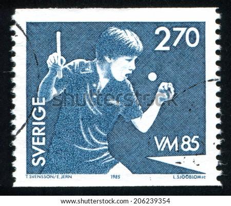 SWEDEN - CIRCA 1985: stamp printed by Sweden, shows Jan-Ove Waldner, circa 1985 - stock photo