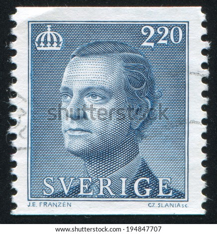SWEDEN - CIRCA 1989: stamp printed by Sweden, shows Karl XVI Gustaf, circa 1989