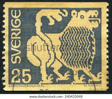 SWEDEN - CIRCA 1967: stamp printed by Sweden, shows Lion, circa 1967 - stock photo