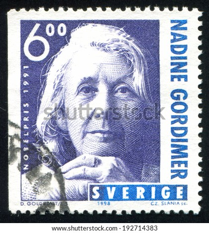 SWEDEN - CIRCA 1998: stamp printed by Sweden, shows Nadine Gordimer, circa 1998