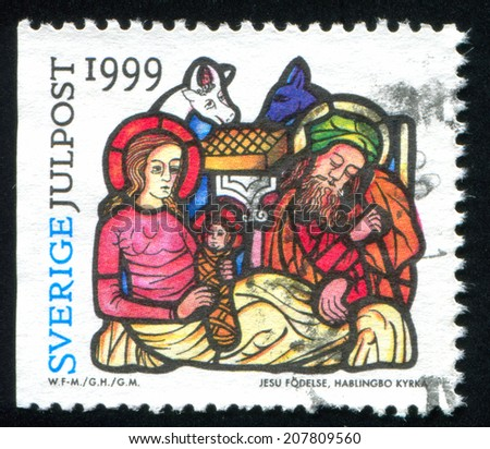 SWEDEN - CIRCA 1999: stamp printed by Sweden, shows Nativity, Hablingbro Church, circa 1999