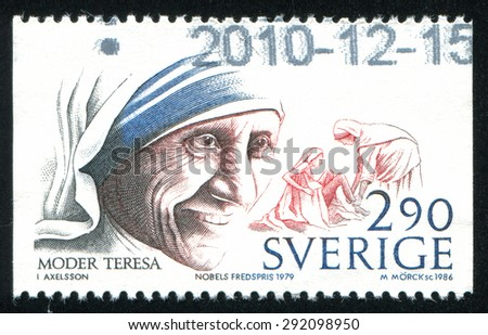 SWEDEN - CIRCA 1986: stamp printed by Sweden, shows Nobel Peace Prize Laureates Mother Teresa, circa 1986 - stock photo