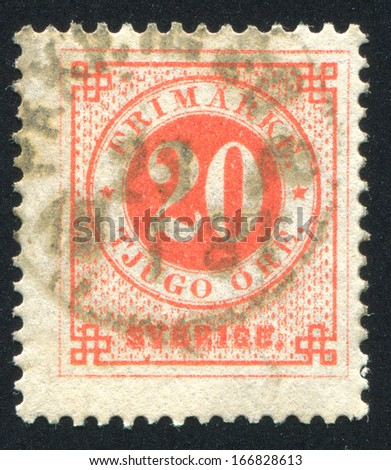 SWEDEN - CIRCA 1872: stamp printed by Sweden, shows Numeral, circa 1872