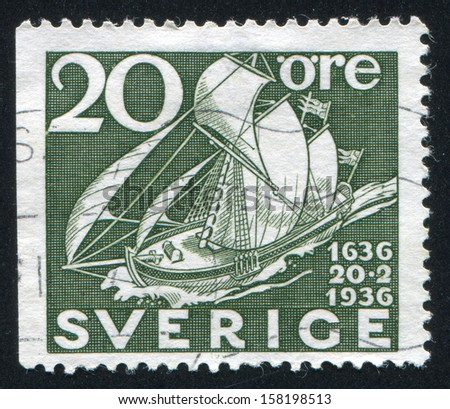 SWEDEN - CIRCA 1936: stamp printed by Sweden, shows Old Sailing Packet, circa 1936