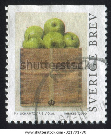 SWEDEN - CIRCA 2000: stamp printed by Sweden, shows Peck of Apples by Philip von Schantz, circa 2000 - stock photo