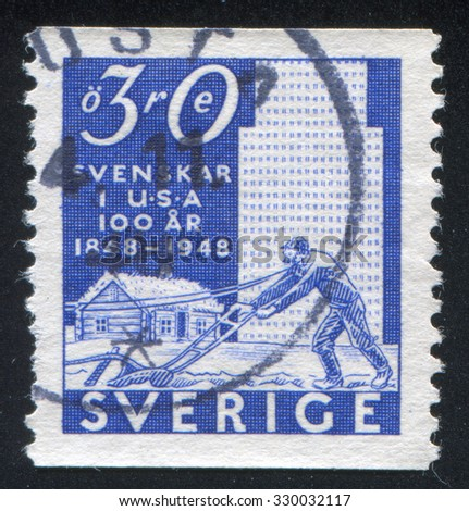 SWEDEN - CIRCA 1948: stamp printed by Sweden, shows Plowman and buildings, circa 1948