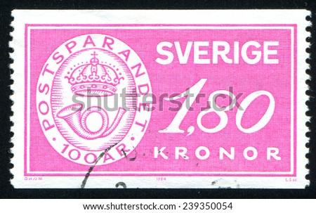 SWEDEN - CIRCA 1984: stamp printed by Sweden, shows Postal Savings Centenary, circa 1984 - stock photo