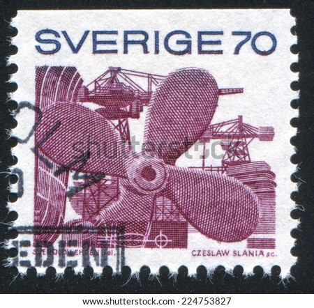 SWEDEN - CIRCA 1970: stamp printed by Sweden, shows Propeller, circa 1970