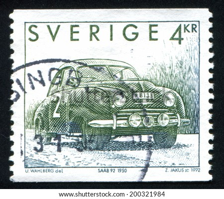 SWEDEN - CIRCA 1992: stamp printed by Sweden, shows Saab 92, circa 1992 - stock photo