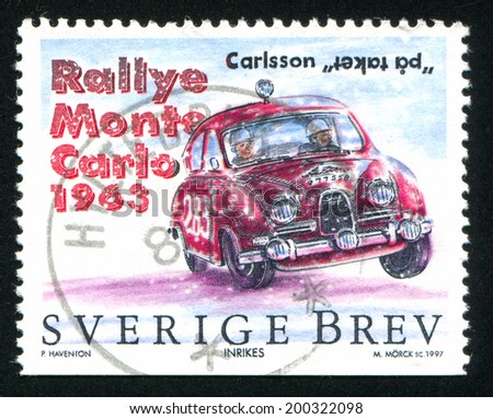SWEDEN - CIRCA 1997: stamp printed by Sweden, shows Saab, circa 1997 - stock photo