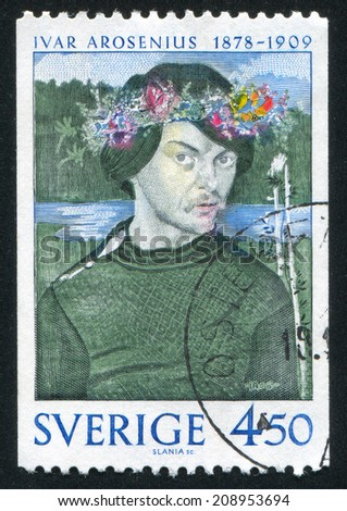SWEDEN - CIRCA 1978: stamp printed by Sweden, shows Self-portrait by Ivar Arosenius, circa 1978