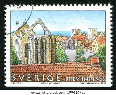 SWEDEN - CIRCA 2002: stamp printed by Sweden, shows Square, walls of St. Catherine Church in Visby, circa 2002 - stock photo