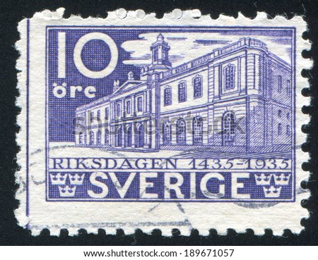 SWEDEN - CIRCA 1935: stamp printed by Sweden, shows Stock exchange, circa 1935