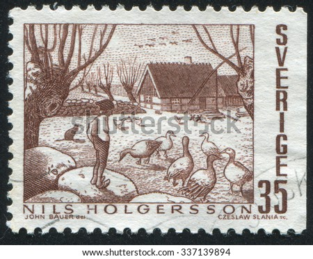 SWEDEN - CIRCA 1969: stamp printed by Sweden, shows The Adventures of Nils, circa 1969 - stock photo